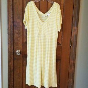 Sun dress in yellow and white stripe